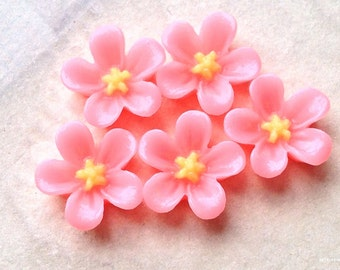 13 mm Pink Colour Water Melon Resin Flower Cabochons (.ss).