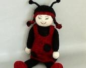 Knitted Ladybug Girl-Cuddle Bug Toy-Hand Knit Ladybird-Stuffed Plush Ladybug Doll-Ladybug Gift-Keepsake Toy-Insect Gift-On Sale Item