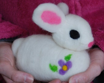 Jumbo Needle Felted Easter Bunny, Plushy, Handmade, Super Soft Rabbit, Felted Bunny