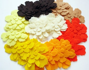 Felt Flower Shapes NATURA, set of 56 pieces, felt die cut, felt flower, apliqques