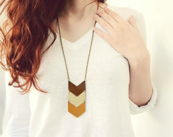 Arrow chevron leather necklace, rustic fall jewelry, brown, mustard, autumn, woodland