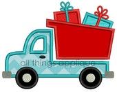 Dump Truck with Presents Applique Design - Christmas Applique Design - 3 Sizes - INSTANT DOWNLOAD