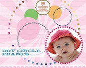 Circle dot frame clipart clip art, digital circle frame, clipping polka dot clipart clip art : e0161 v301 50C