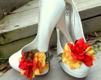 Fall  Shoe Clips - Yellow Brown Tan Burnt Orange Autum Wedding, Fall, flower shoe clips, wedding shoe clips