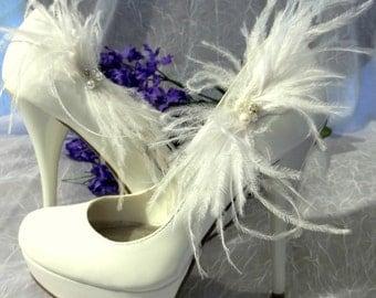 Shoe Clips -Ostrich Feather Bridal Wedding Shoe Clips - Sparkling Rhinestone Rondells, Freshwater Pearls, Swarovski Crystals