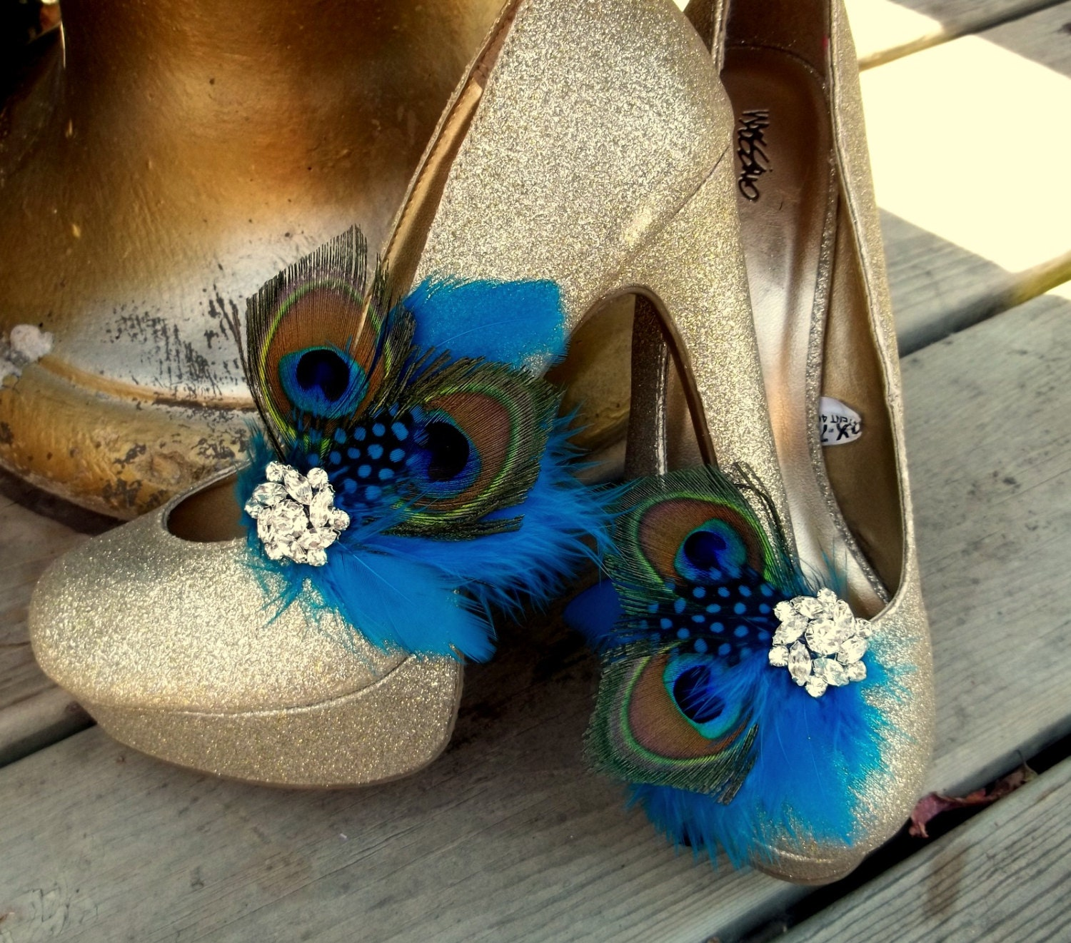 Feather Shoe Clips Peacock Shoe Clips Turquoise Shoe Clips