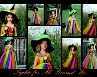 Halloween Witch Costume - Tutu Dress - Costume - Fancy Witches Hat - Sizes 6, 7/8 or 9/10 - Witch Costume - Pageant Dress - Pageant Costume