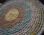 Pastel and multicolor handmade circle rug