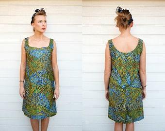60s Vintage Modern Abstract Brush Strokes Sleeveless Dress