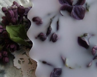 Lilac scented Soy and Beeswax Premium melting cakes tarts Montana candles spring flowers lilac bush dried purple lilac blooms wax cakes