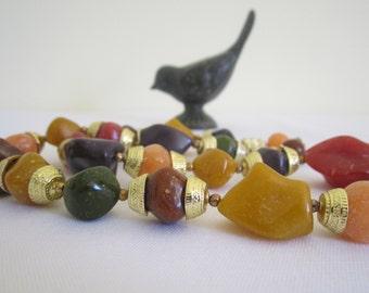 RETRO 1980s faux gemstone necklace - autumn, fall colors, 63cm