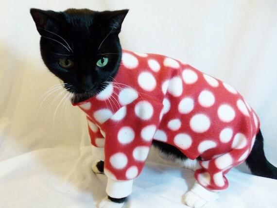 cat pajamas cat clothes polkadot fleece cat by