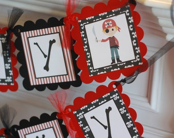 Pirate Party Pack SALE - Happy Birthday Banner, 12 Cupcake Toppers & Door Sign - Lots of Themes