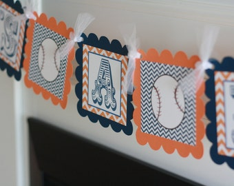 """Orange and Navy Chevron - """"Its a Boy"""" or """"Boy oh Boy"""" Baseball Basketball Sports Baby Shower Banner - Ask About Party Pack Specials"""