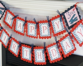 Happy Birthday Vintage Red and Navy Blue Chevron Airplane Aviator Pilot Theme Banner - Party Pack Sale - Free Ship Over 65.00