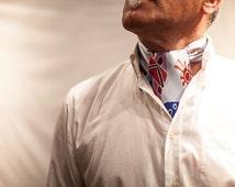 Scarf for men, small hand painted silk neckerchief, summer spring accessories for men, ascot cravat, cravate, square scarf, silk anniversary