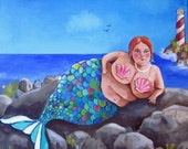 "BBW mermaid giclee print on watercolor paper 8""x10"" Monique Mermaid"
