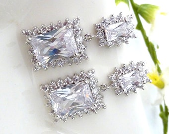 Sales - Wedding Bridal Earrings - Halo Rectangle Clear White Cubic Zirconia with Matching Rectangle CZ Post Earrings