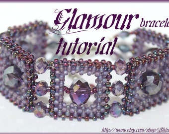 BEADING PATTERN bracelet tutorial instructions GLAMOUR style beawoven Right Angle Weave beaded square with Swarovski crystal Pdf file