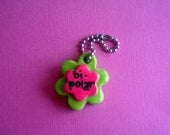 Bipolar Green and Pink Flower Polymer Clay Conversation Heart Charm Keychain Psychology Disorder Mental Health Valentine Gift Ooak Crazy