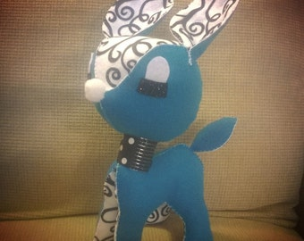 Large Diva Darling Deer Black and White Print and Blue Stuffed Fawn Plush Plushie Soft Softie Stuffed Animal Kawaii Holiday Cute Gift