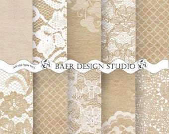 Lace Digital Paper, Wedding Scrapbook, White Lace Digital Paper, Shabby Chic Digital Paper, Digital Wedding Invitation Paper, #13047