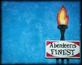 Vintage Motel Sign, Aberdeen Washington, Blue Sky, Fire