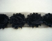 Shabby Chiffon Rose Trim, Shabby Flower, Black, 1 yard