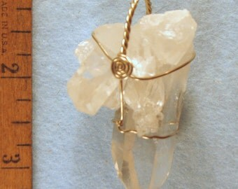 Clear Rainbow Quartz Crystal Cluster with Fairy Frost & Dust Wire Wrapped Pendant