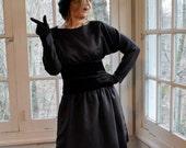 Black Satin Beaded Party Dress/Vintage 1960s/Designer Mollie Parnis/Drop Waist Cocktail Dress/Size Small to Medium