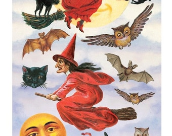 scary Victorian Witches Sticker Package - 2 sheets - from Violette Stickers
