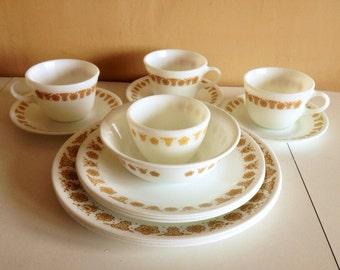 Vintage Pyrex Dinnerware Set Golden Butterfly Corelle by Corning Dinnerware Set