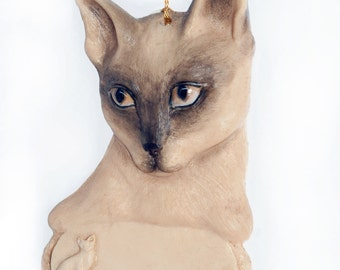 Siamese Cat Personalized Christmas Ornament place your feline's name on this beautiful detailed ornament (c21)