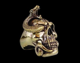 Solid Bronze Snake Skull Ring - Free Re-Size/Shipping old School classic with a customizable stone any color you want any size you need