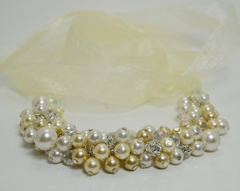 Ivory, White and Champagne Cluster Necklace, Bib Necklace, Ivory Bridal Jewelry, Wedding Necklace, Chunky Necklace, Pearl Cluster Necklace