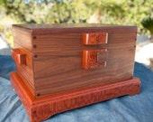 Handmade walnut, mens or women's jewelry or curio box