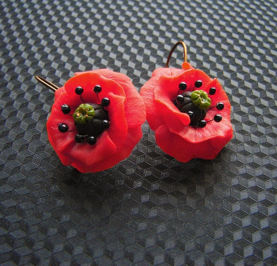Red poppy  flower earrings.