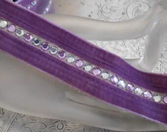 Purple Velvet Rhinestone Trim