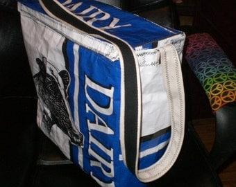 """Tote lined with lid 14"""" x 14"""" x 6"""" Lunch Bag or Cold Food Shopping carrier from recycled materials - made to order"""