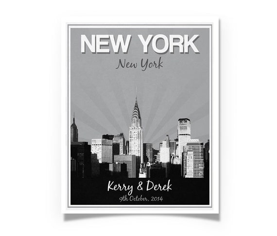 Unique Wedding Gifts Nyc : New York City Wedding Gift - Personalized - Anniversary - Custom Date ...