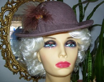 Vintage 1980s Lancaster Brown Wool Brim Hat with Feathers