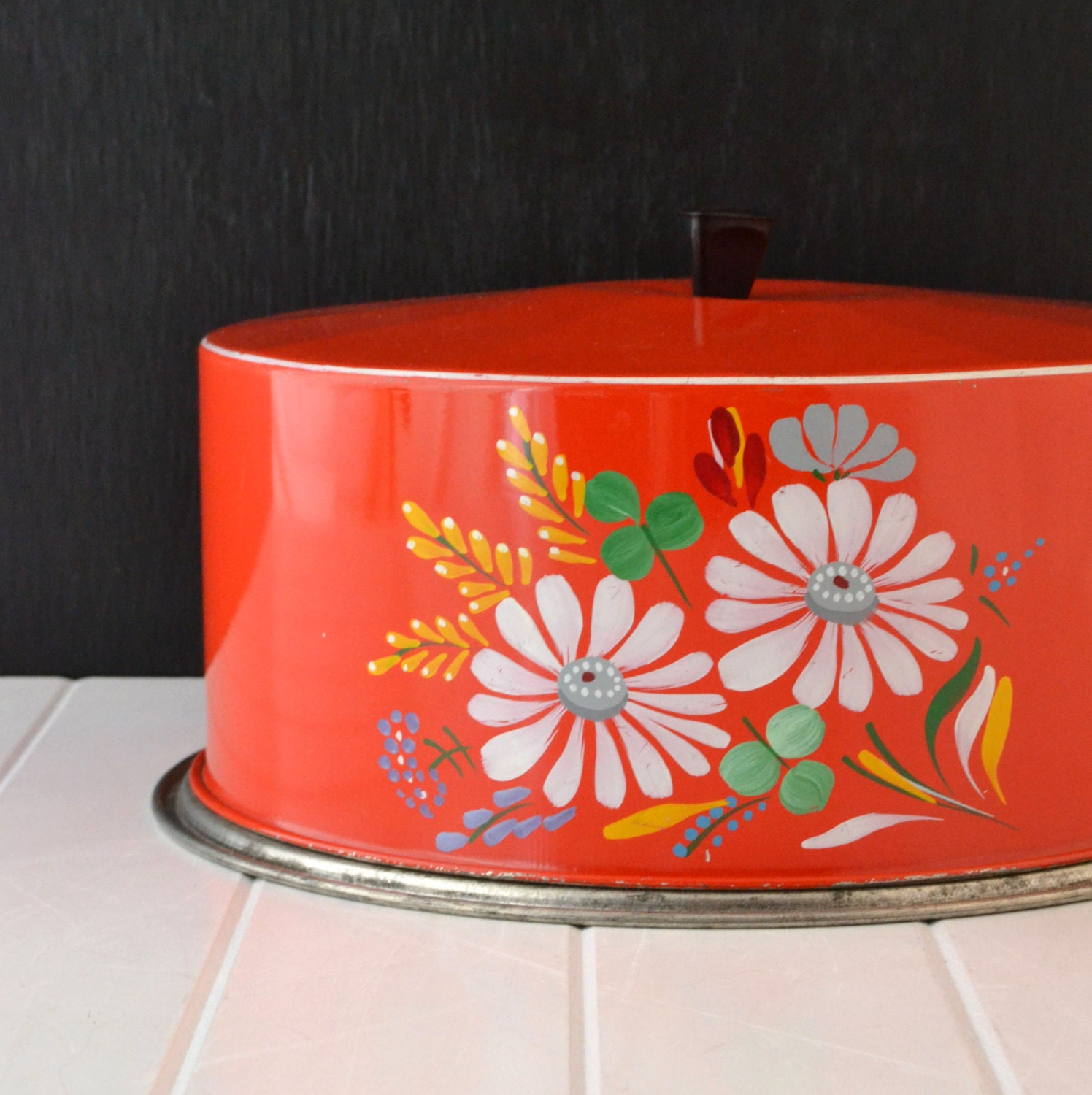 Ransburg Cake Carrier Red Metal Cake Holder Hand Painted