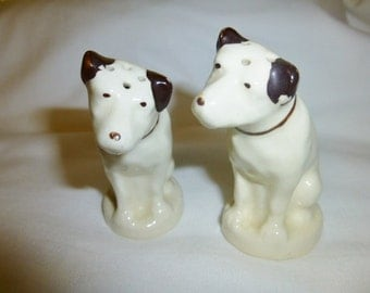 Vintage R C A Dogs Salt and Pepper Shakers Nipper Marked Radio Corp of America