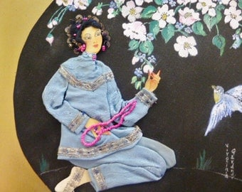 Asian Silk Fabric Japanese Picture Hand Painted Oriental Silk Painting Birds Flowers Girl in Blue Silhouette Great Detail