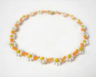 Neon Orange Bracelet, Daisy Chain Bracelet, Friendship Bracelet, Neon Jewlery UK