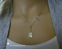 Music Jewelry - Guitar Necklace and Clef Charm - G Clef - Clef Note - Guitarist - Treble