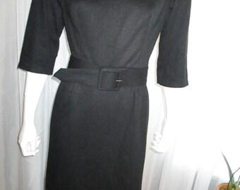 Early 1960's Black SEARS ROEBUCK Belted Dress