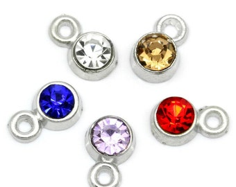 50 WHOLESALE Rhinestone Charms Silver Assorted  8x5mm  -  Ships IMMEDIATELY from California - SC823a