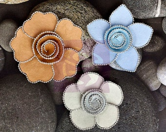 "SALE Prima Flowers Queen Mary ""Buttermint"" - Metal Embellished Mulberry Paper Flowers - 3 pcs"