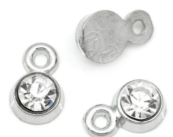 Silver Rhinestone Charms -  Clear Faceted - 8x5mm - 10pcs - Ships IMMEDIATELY from California - SC881